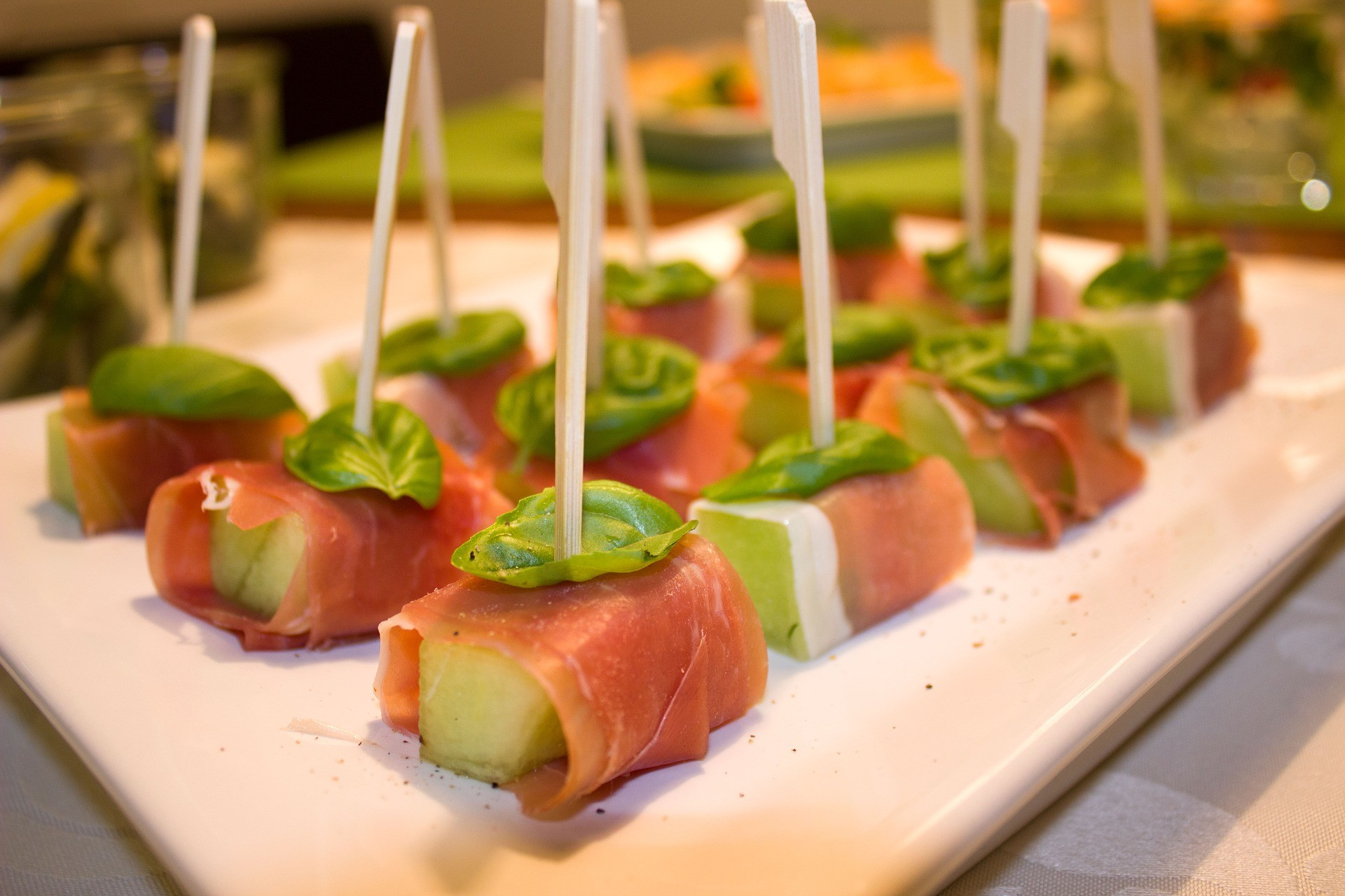Melon prociutto basil skewer gf for Canape caterers